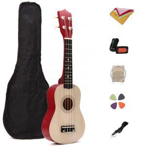 21 tums Basswood Ukulele Hawaii Guitar Musical Instrument med Tuner Bag