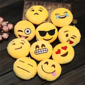 Härlig Emoji Smiley Emoticon Mjukt Stuffad Plysch Round Docka 2INCH