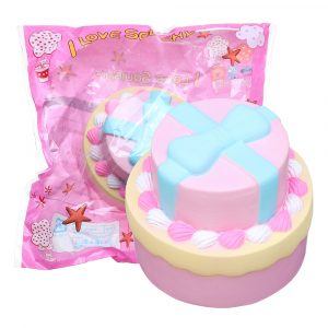 Bow-knut Double Cake Squishy 9cm Jumbo med Packaging Collection Present