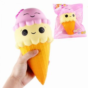 SanQi Elan Squishy Ice Cream Cone Jumbo 22cm Licensierad Långsam Rising Med Packaging Collection Present Soft Toy