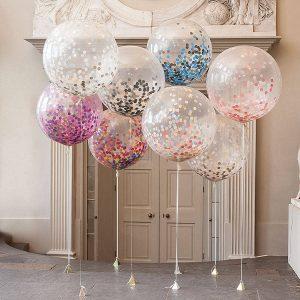3st / Lot Clear Confetti Balloon Grattis på födelsedagen Bröllopsfest dekorationer