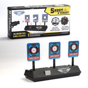 Elektronisk målpraktik Scoring Automatisk returbelysning Ljudeffekter Skytte Övning Roliga brädspel Leksaker