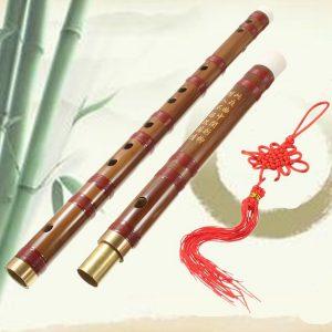 Handgjord traditionellt kinesiskt musikinstrument D Key Bamboo Flute 61mm