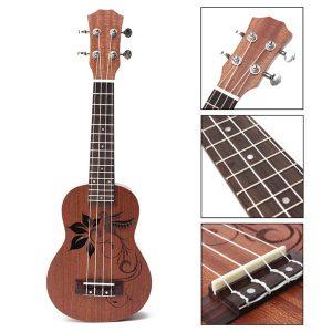 21 tums Sopran Ukulele Uke Sapele 15 Frets Musical Instrument Flower