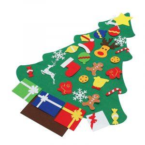 Julgran med dekorationer Presentdörr Vägghängande dekoration