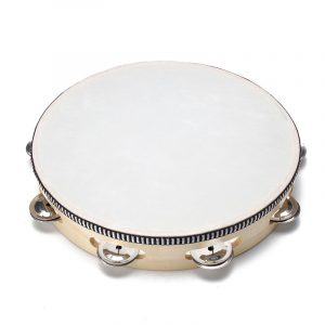 Wood Hand Held Tambourine Round Percussion for barnren