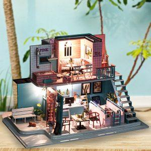 Handgjorda 3D Trä Miniatyrer Dockhus Pink Cafe Dockhus Möbler Diy Miniatyrleksaker för Flickor Födelsedagspresenter