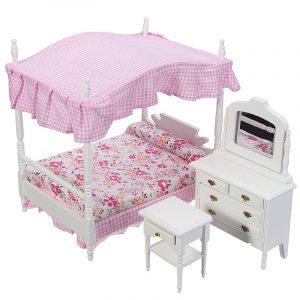 Dockhus Miniature 1 * Säng + 1 * Sittbord + 1 * Nattduksbord Handmake Dockhus Furniture