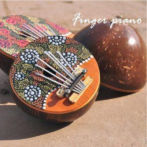 Kalimba 7 Key Finger Piano Målade Kokos Skal Mbira Likembe Thumb Piano