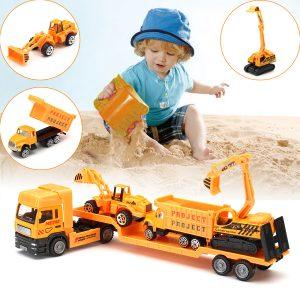 4in1 Barn Toy Recovery Vehicle Drag Truck Lastbil Låglastare Diecast Modell Leksaker Construction Xmas