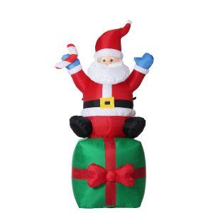 1.8M jul uppblåsbara leksaker Santa på nuvarande julgransdekoration utomhus trädgårdsljus