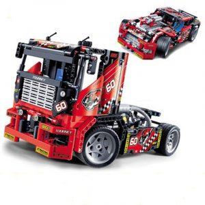 decool-3360-608st- lopp- lastbil-2-i-1- transformable- modell- byggstenar- leksaker- sets- DIY- leksaker- Med- låda