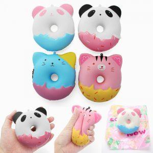 YunXin Squishy söta djur Donut 10cm söt mjuk långsam uppstigning med Packaging Collection Present Inredning