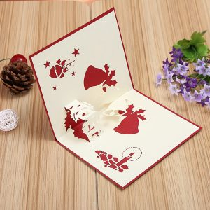 3D Pop Up Greeting bild Table Merry Christmas Vykort Present Craft Paper DIY
