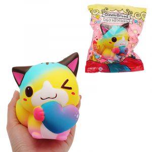 Gigglebröd Cat Squishy 12 * 9,5 * 7,5cm långsammare med förpackning Alla hjärtans daggåva mjuk leksak