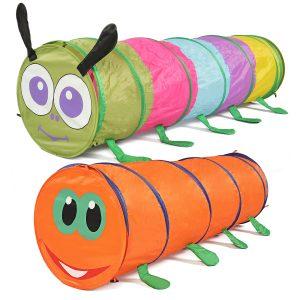 barns Play Tält Flerfärgad Caterpillar Crawling Tält Tunnel Roliga Utveckling Leksaker