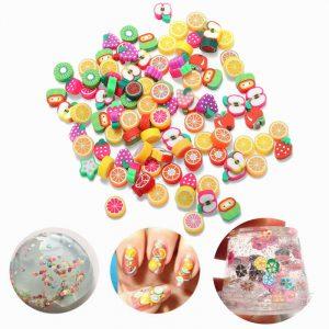 100st DIY Slime Tillbehör Dekor Fruktkaka Blomma Polymer Clay Toy Nail Beauty Ornament
