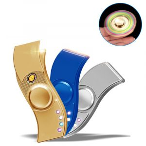 Flerfärgad tvåarms LED-lampa USB-laddningslighter Roterande Fidget Handspinner Minskar spänningsleksaker