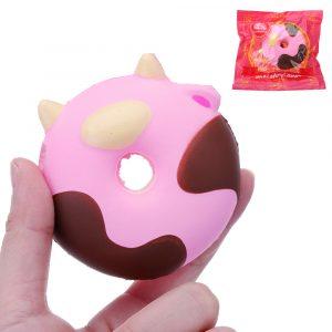 biltoon Cow Donut Cake Squishy 8cm långsammare med Packaging Collection Present Soft Toy