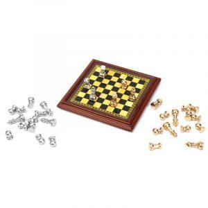 1:12 Scale Dockhus Miniatyr Metal Chess Set Board Leksaker Hemrum Ornament
