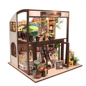 Cuteroom Handcraft DIY Dockhus Time Cafe Toy Trä Miniatyr Möbler LED Light Present