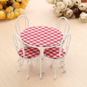 1/12 Scale Dining Table Chair Set Dockhus Miniatyr Möbler Tillbehör Till Dockhus