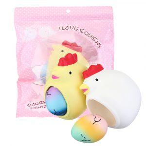 2 i 1 Squishy Chick Lay Egg 12 * 10 * 7cm Roliga Slow Rising Toy med originalförpackning