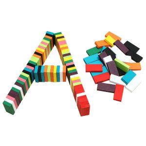 100st många färger autentiska standard trä barn domino leksaker