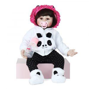 NPK Docka 22''Panda Reborn Silicone Handgjord levande realistisk nyfödd babyleksak