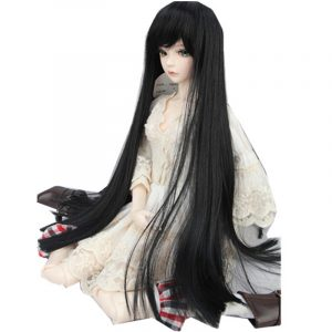 "BJD Docka Wig 8-9 ""22-24cm 1/3 BJD SD Long Straight Hair Black Toy Kostym peruk"