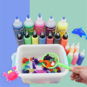 ECAI 10st 60ML DIY Magice Vatten Elf Djur Toy Vatten Absorption Sväll Toy Toy Slime Clay With Mould låda Packing