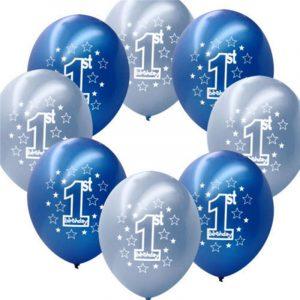 10 st per set Blå pojke 1: a födelsedag Tryckta uppblåsbara pärlstavar Ballong Juldekoration