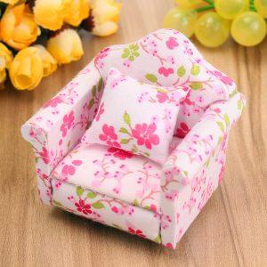1:12 Dockhus Miniature Pink Floral Fåtölj Singel Soffa Leksaker Möbler Julgransprydnader