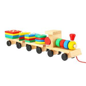 Tågbil Trä geometriska block Leksaker Barn Utvecklingsbarn Pedagogiska spårleksaker