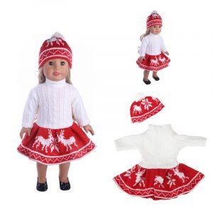 18 tums duk för amerikansk tjejdocka tröja + kjol + mössa hatt utan omskuren baby