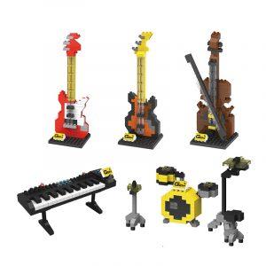 Penrose Små Partiklar Diamant Mikrobyggnadsblock Tecknad Musikinstrument Modell Leksaker