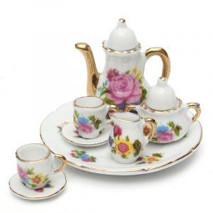 8st porslin Vintage Tea Sätter Tekanna Kaffe Retro Blommiga Koppar Dockhus Decor Toy