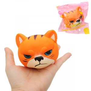 Tiger Squishy 8 * 7 * 6,5cm långsammare med Packaging Collection Present Soft Toy