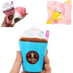 Sugkopp Kaffe Squishy 8 * 10cm Långsam Rising Mjuk Samling Present Inredning Leksak Med Förpackning