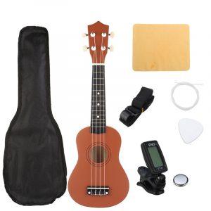 21 tums brun sopran Basswood Ukulele Uke Hawaii gitarr musikinstrument