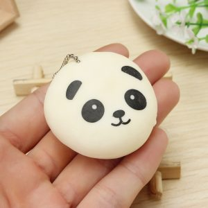 Squishy Squeeze Panda Sticky Rice Ball 5cm Samling Ball Chain Telefonrem Decor Present Toy