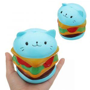 Burger Cat Squishy 10,5 * 9,5 CM långsam stigande samling gåva mjuk rolig djurleksak