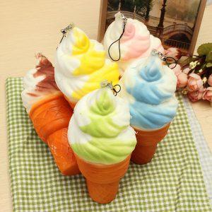 Squishy Jumbo Ice Cream Cone 17cm långsammare mjuka samling inredning gåva telefon väska rem