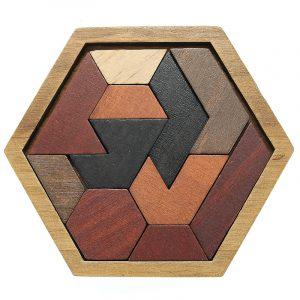 Barnpussel Träleksaker Tangram Jigsaw  Styrelse Geometrisk form pedagogisk leksaker