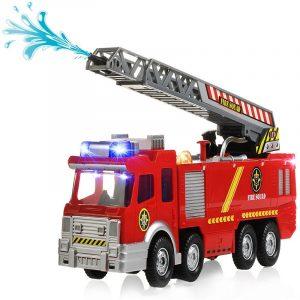 Spray Water Gun Firetruck Juguetes Brandmän Brandbil Fordon Bil Musik Lätt Kallt För Barn Leksak