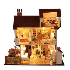 Iiecreate K-013 Flower Town DIY Dockhus Med Möbler Lätt Musik Cover Miniature Model Gift