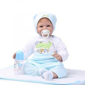 22 '' Lifelike Baby Boy Girl Silicone Handgjorda Vinyl Reborn Newborn Dockas Clothes