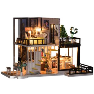 Miniatyr Dockhus DIY Handcraft Kit Möbler Wooden House Romantic House