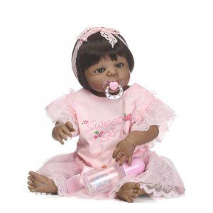 "NPK Full Silicone Reborn Baby Dockas 22 ""Black Skin Reborn Babies Toddler Girl Dockas Barn Bebe Present"
