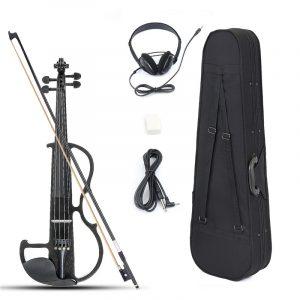 4/4 Storlek Basswood Electric Violin Alloy String hörlurar med fall för violin nybörjare